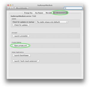 Systemeinstellungen KeyRemap4MacBook