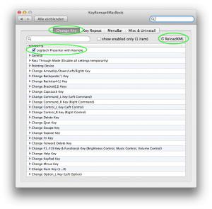 Einstellungen KeyRemap4MacBook (Change Key)